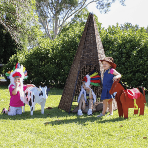 Childrens Outdoor Play Rattan Wicker Teepee